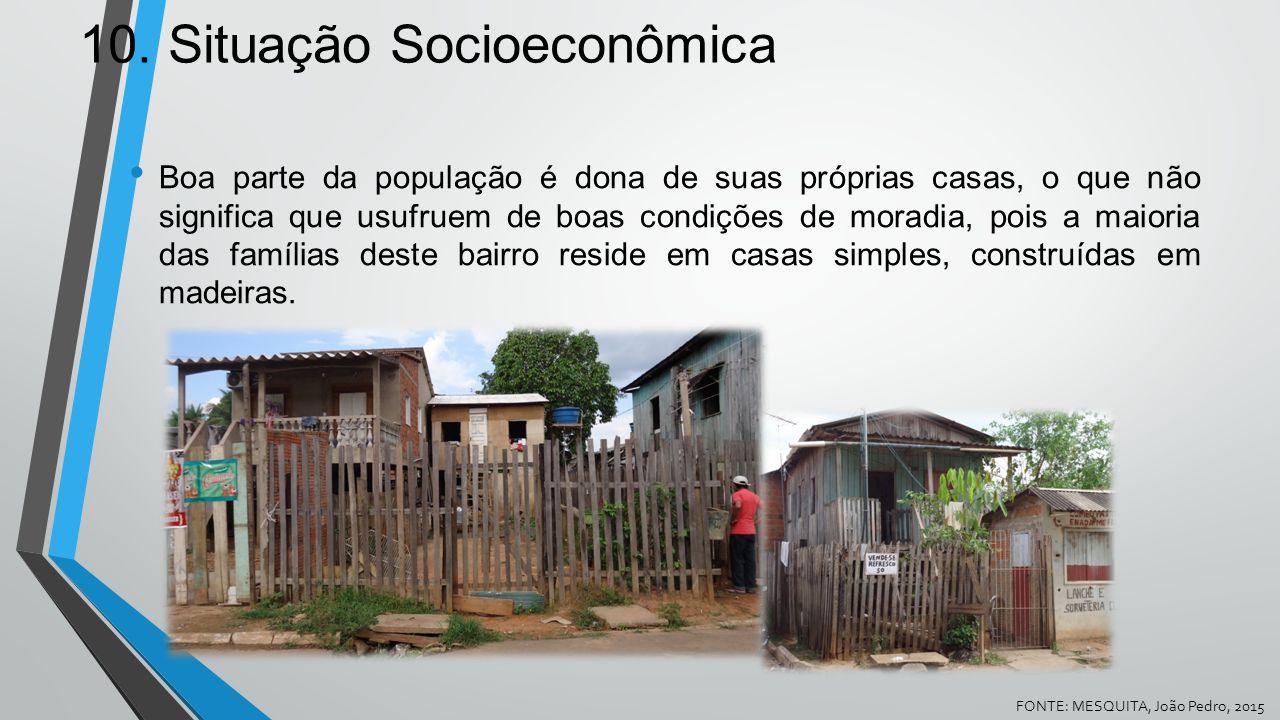 10. Situação Socioeconômica Boa parte da população é dona de suas próprias casas, o que não significa que usufruem de boas condições de moradia, pois