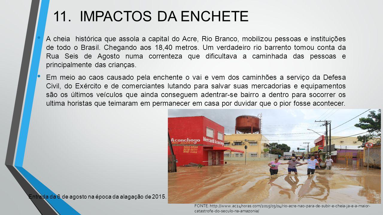 11. IMPACTOS DA ENCHETE A cheia histórica que assola a capital do Acre, Rio Branco, mobilizou pessoas e instituições de todo o Brasil. Chegando aos 18