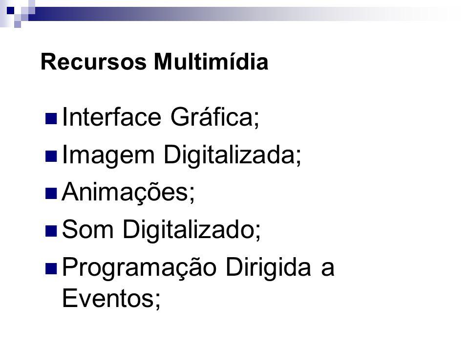 Recursos Multimídia Interface Gráfica; Imagem Digitalizada; Animações; Som Digitalizado; Programação Dirigida a Eventos;