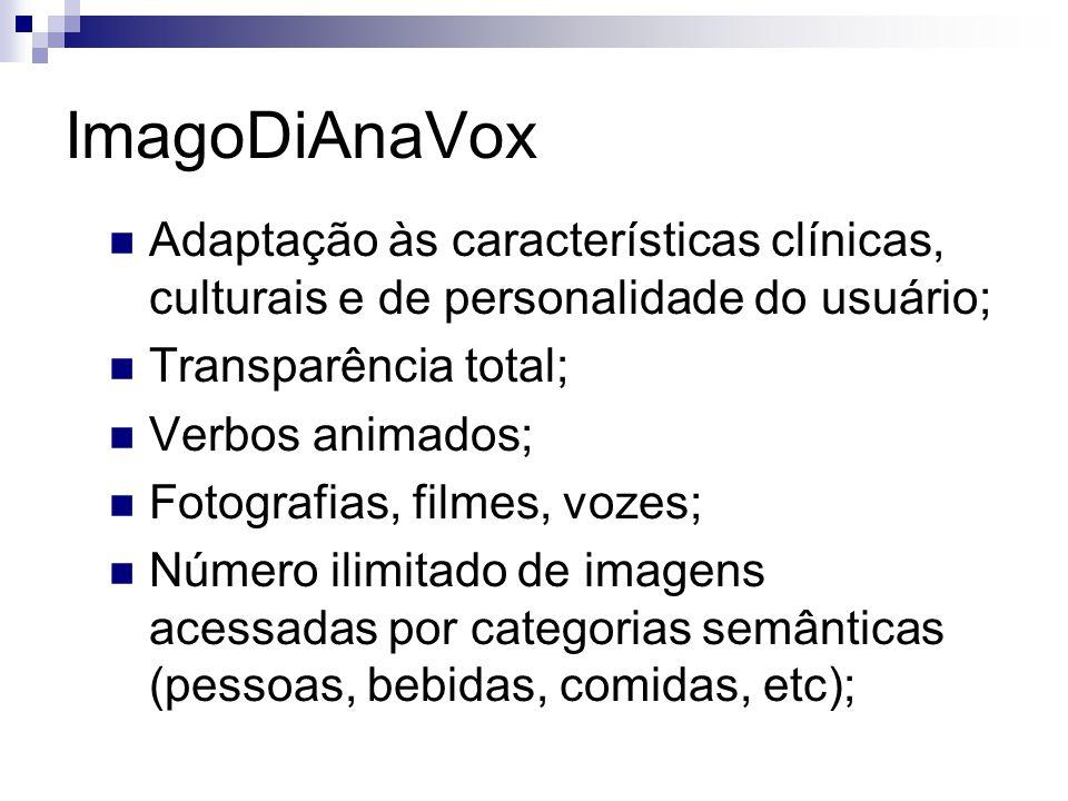 ImagoDiAnaVox Adaptação às características clínicas, culturais e de personalidade do usuário; Transparência total; Verbos animados; Fotografias, filme