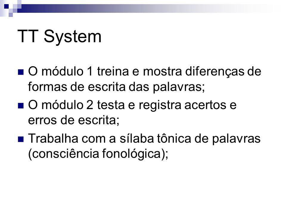 TT System O módulo 1 treina e mostra diferenças de formas de escrita das palavras; O módulo 2 testa e registra acertos e erros de escrita; Trabalha co