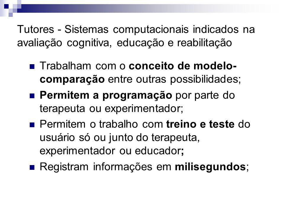 Tutores - Sistemas computacionais indicados na avaliação cognitiva, educação e reabilitação Trabalham com o conceito de modelo- comparação entre outra