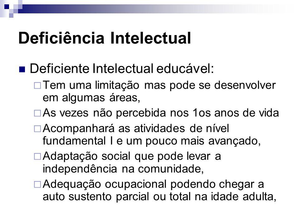 Deficiência Intelectual Deficiente Intelectual educável:  Tem uma limitação mas pode se desenvolver em algumas áreas,  As vezes não percebida nos 1o