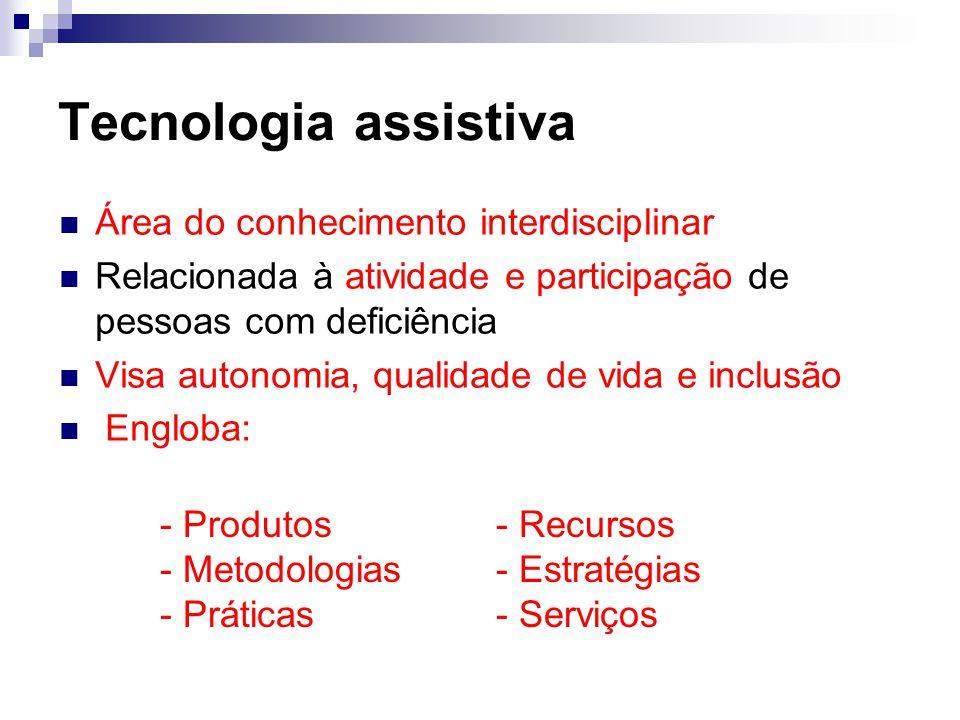 Tecnologia assistiva Área do conhecimento interdisciplinar Relacionada à atividade e participação de pessoas com deficiência Visa autonomia, qualidade