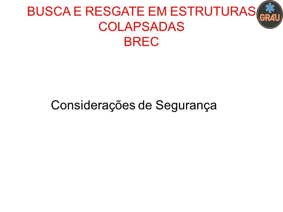 BUSCA E RESGATE EM ESTRUTURAS COLAPSADAS BREC Considerações de Segurança