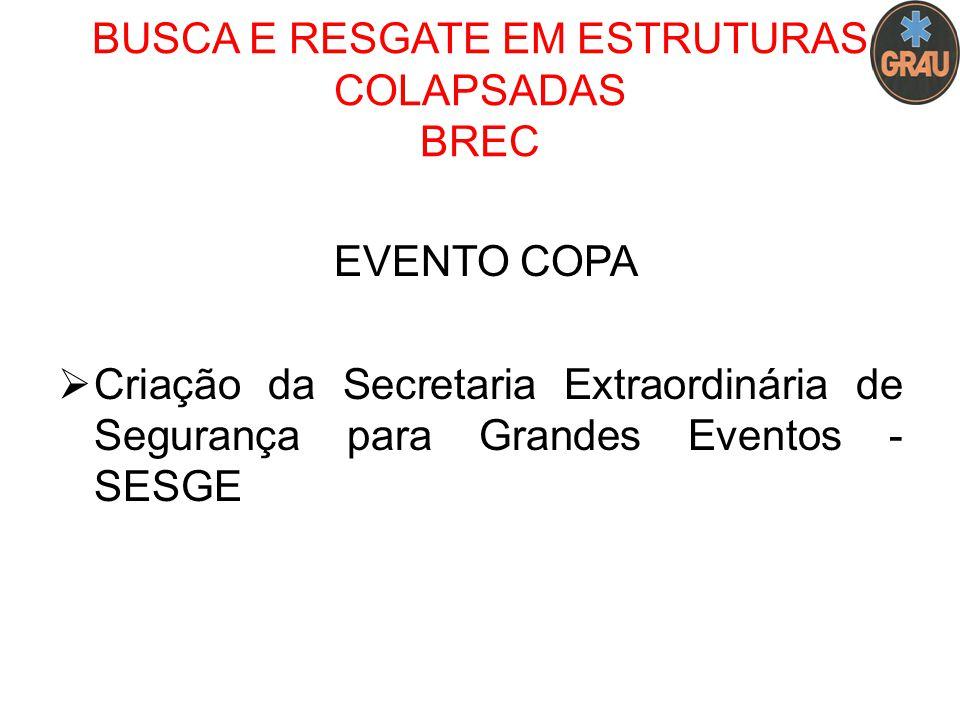 BUSCA E RESGATE EM ESTRUTURAS COLAPSADAS BREC EVENTO COPA  Criação da Secretaria Extraordinária de Segurança para Grandes Eventos - SESGE