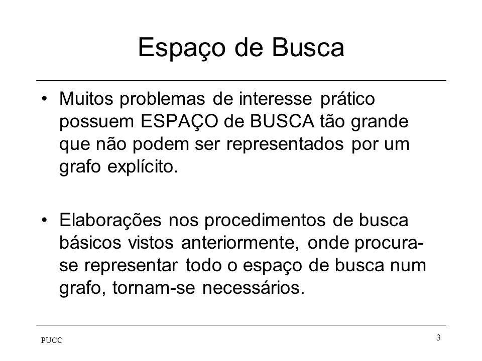 PUCC 3 Espaço de Busca Muitos problemas de interesse prático possuem ESPAÇO de BUSCA tão grande que não podem ser representados por um grafo explícito