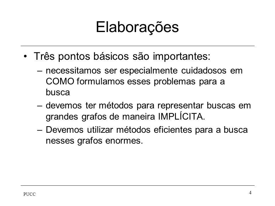 PUCC 4 Elaborações Três pontos básicos são importantes: –necessitamos ser especialmente cuidadosos em COMO formulamos esses problemas para a busca –de