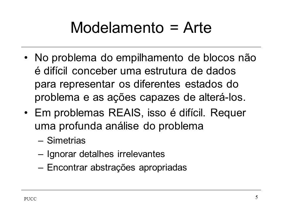 PUCC 5 Modelamento = Arte No problema do empilhamento de blocos não é difícil conceber uma estrutura de dados para representar os diferentes estados d