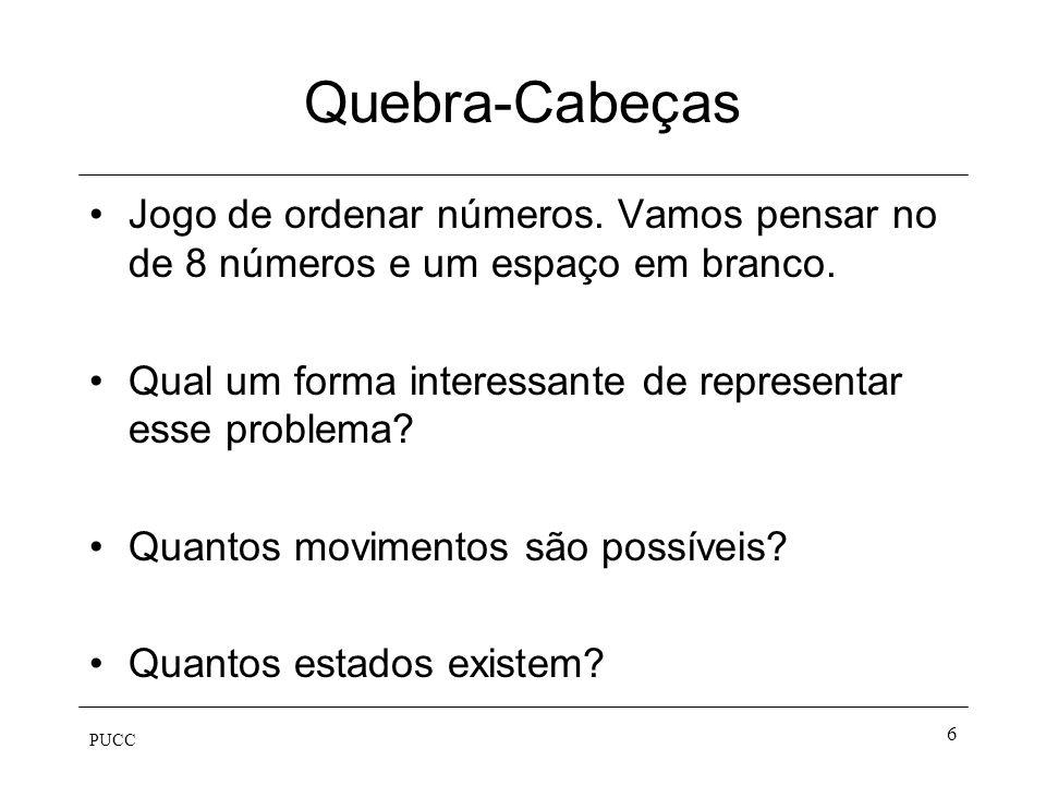 PUCC 6 Quebra-Cabeças Jogo de ordenar números. Vamos pensar no de 8 números e um espaço em branco. Qual um forma interessante de representar esse prob