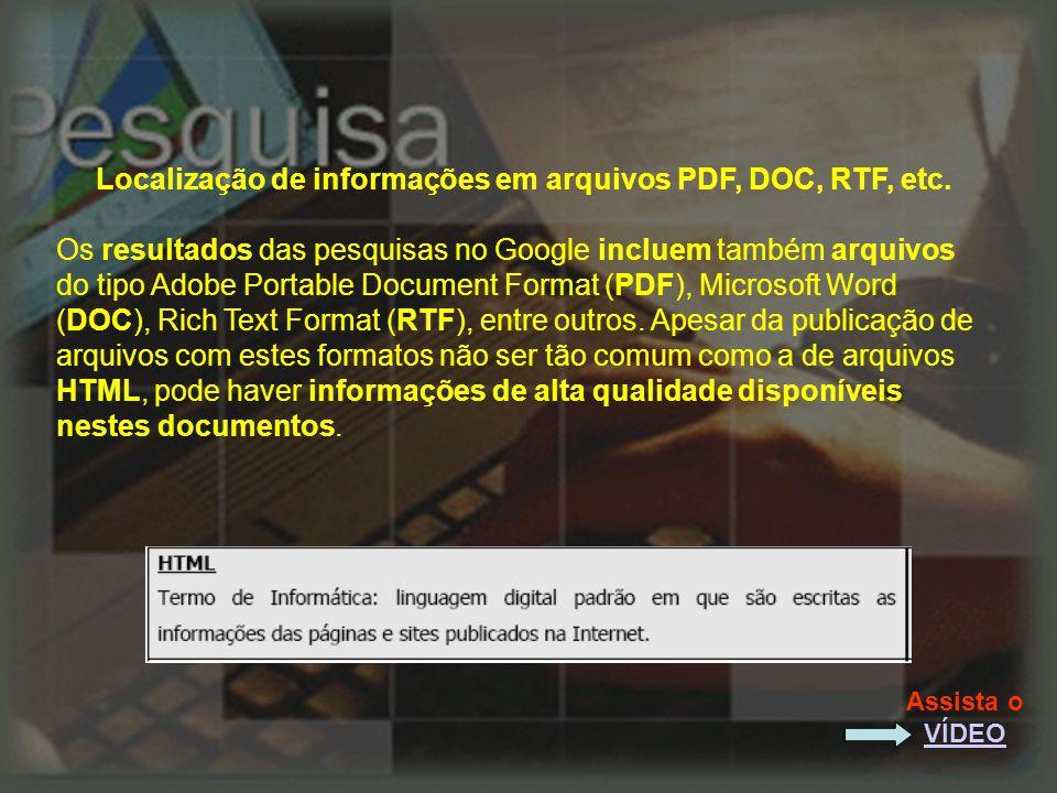 Localização de informações em arquivos PDF, DOC, RTF, etc.