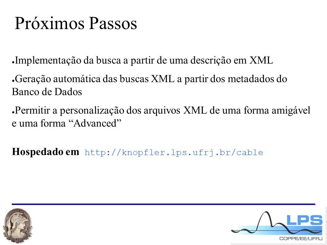 Próximos Passos ● Implementação da busca a partir de uma descrição em XML ● Geração automática das buscas XML a partir dos metadados do Banco de Dados ● Permitir a personalização dos arquivos XML de uma forma amigável e uma forma Advanced Hospedado em http://knopfler.lps.ufrj.br/cable