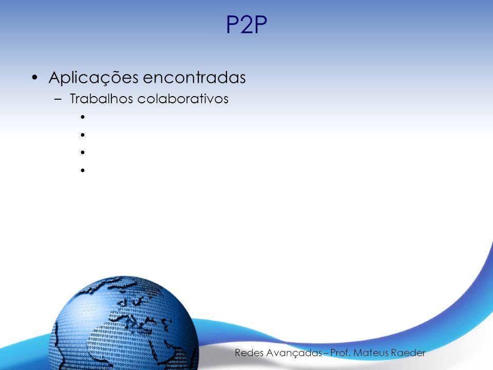 Redes Avançadas – Prof. Mateus Raeder P2P Aplicações encontradas –Trabalhos colaborativos
