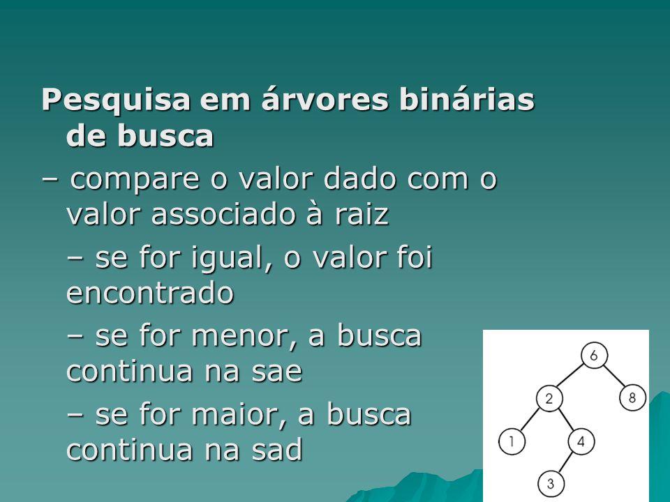 Pesquisa em árvores binárias de busca – compare o valor dado com o valor associado à raiz – se for igual, o valor foi encontrado – se for menor, a bus