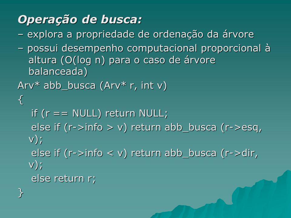 Operação de busca: – explora a propriedade de ordenação da árvore – possui desempenho computacional proporcional à altura (O(log n) para o caso de árv