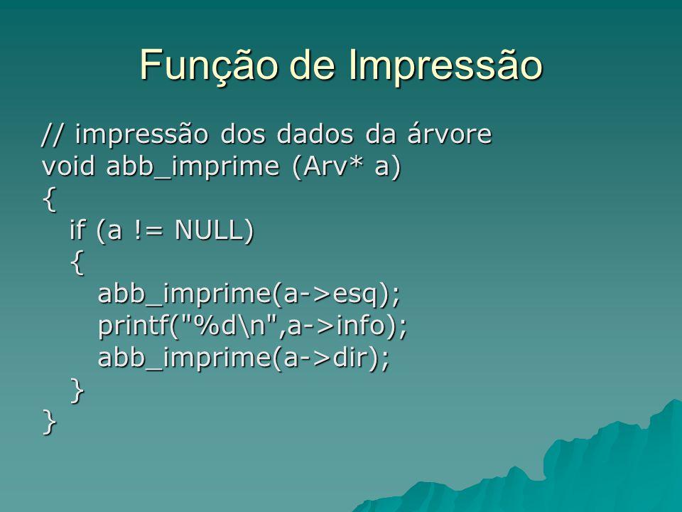Função de Impressão // impressão dos dados da árvore void abb_imprime (Arv* a) { if (a != NULL) if (a != NULL) { abb_imprime(a->esq); abb_imprime(a->e