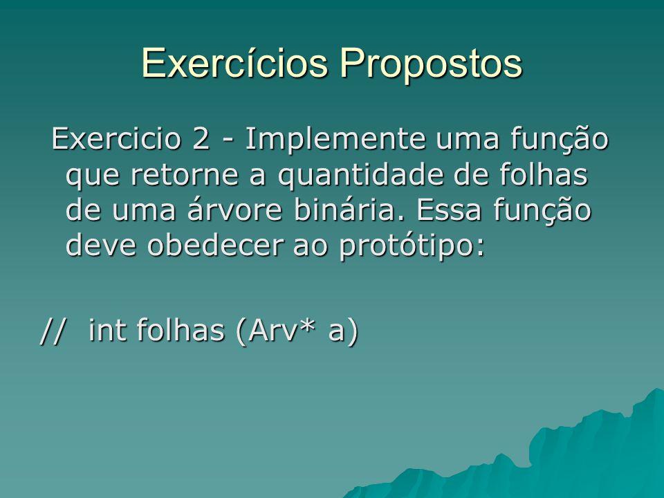 Exercícios Propostos Exercicio 2 - Implemente uma função que retorne a quantidade de folhas de uma árvore binária. Essa função deve obedecer ao protót