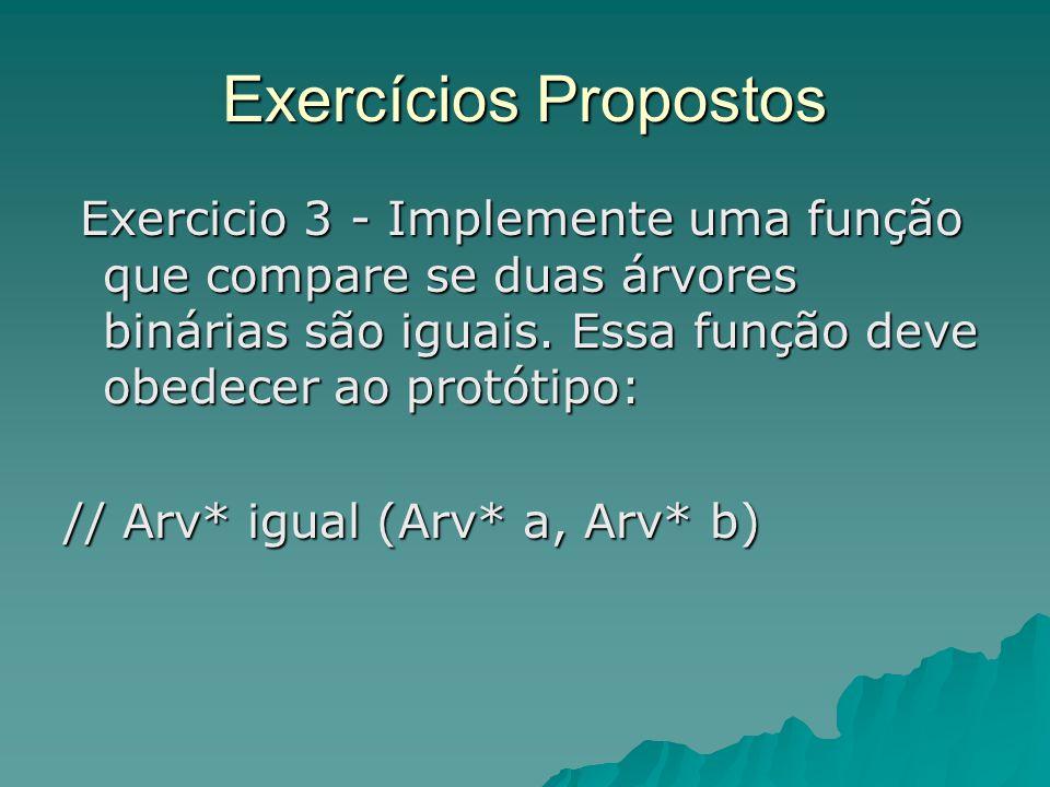 Exercícios Propostos Exercicio 3 - Implemente uma função que compare se duas árvores binárias são iguais. Essa função deve obedecer ao protótipo: Exer