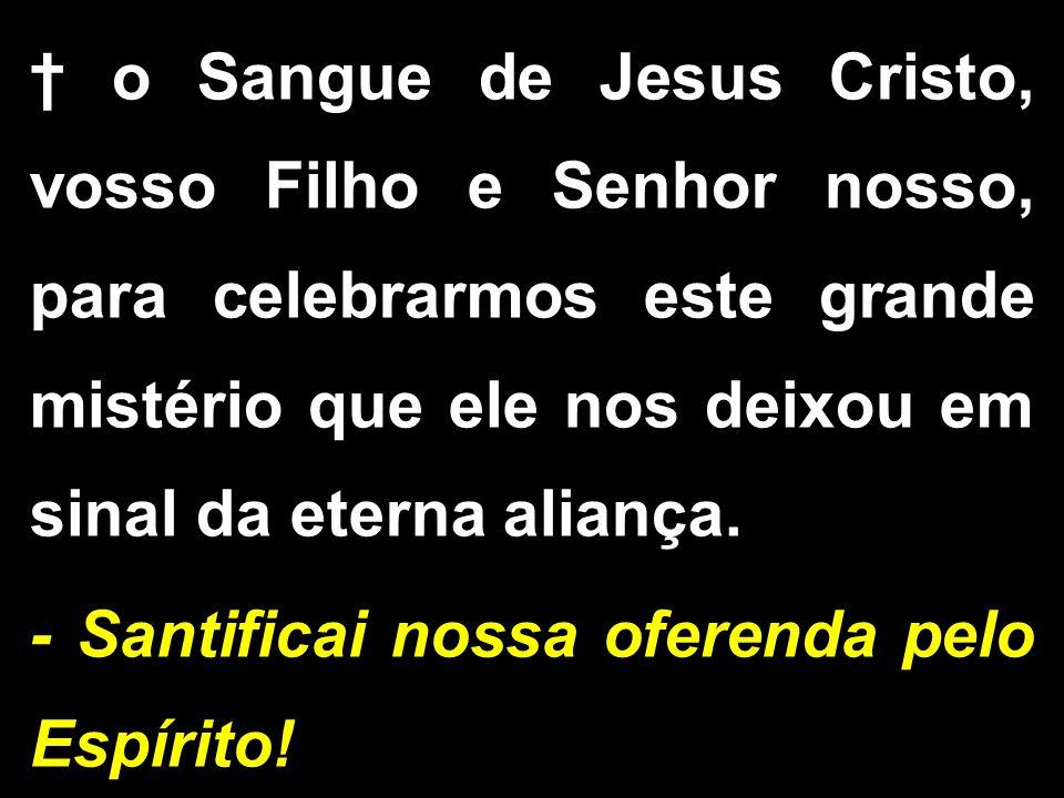 † o Sangue de Jesus Cristo, vosso Filho e Senhor nosso, para celebrarmos este grande mistério que ele nos deixou em sinal da eterna aliança.