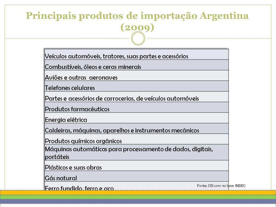 Principais produtos de importação Argentina (2009) Fonte: CEI com no base INDEC