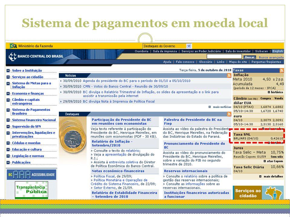 Sistema de pagamentos em moeda local