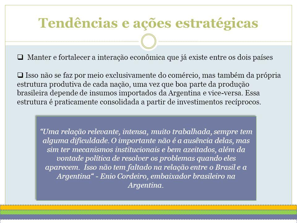 Tendências e ações estratégicas  Manter e fortalecer a interação econômica que já existe entre os dois países  Isso não se faz por meio exclusivamente do comércio, mas também da própria estrutura produtiva de cada nação, uma vez que boa parte da produção brasileira depende de insumos importados da Argentina e vice-versa.