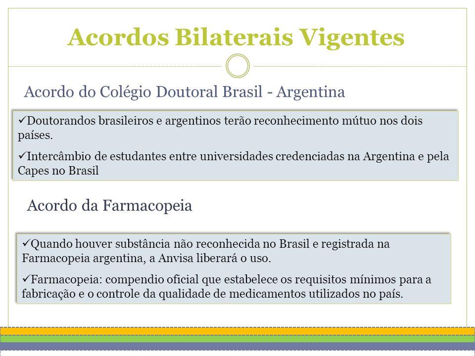 Acordos Bilaterais Vigentes Doutorandos brasileiros e argentinos terão reconhecimento mútuo nos dois países.