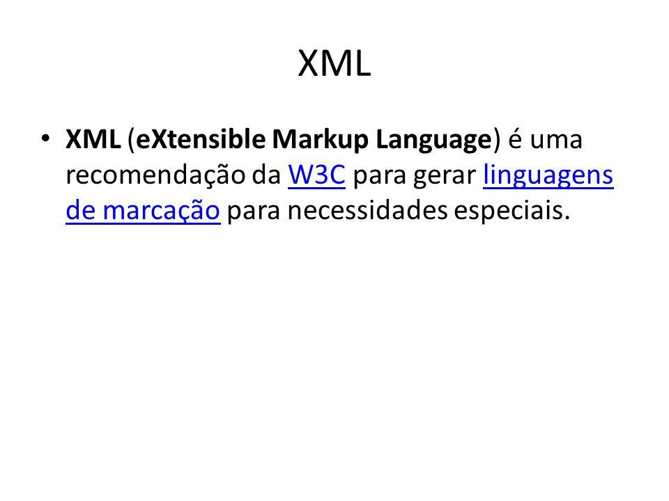 XML XML (eXtensible Markup Language) é uma recomendação da W3C para gerar linguagens de marcação para necessidades especiais.W3Clinguagens de marcação