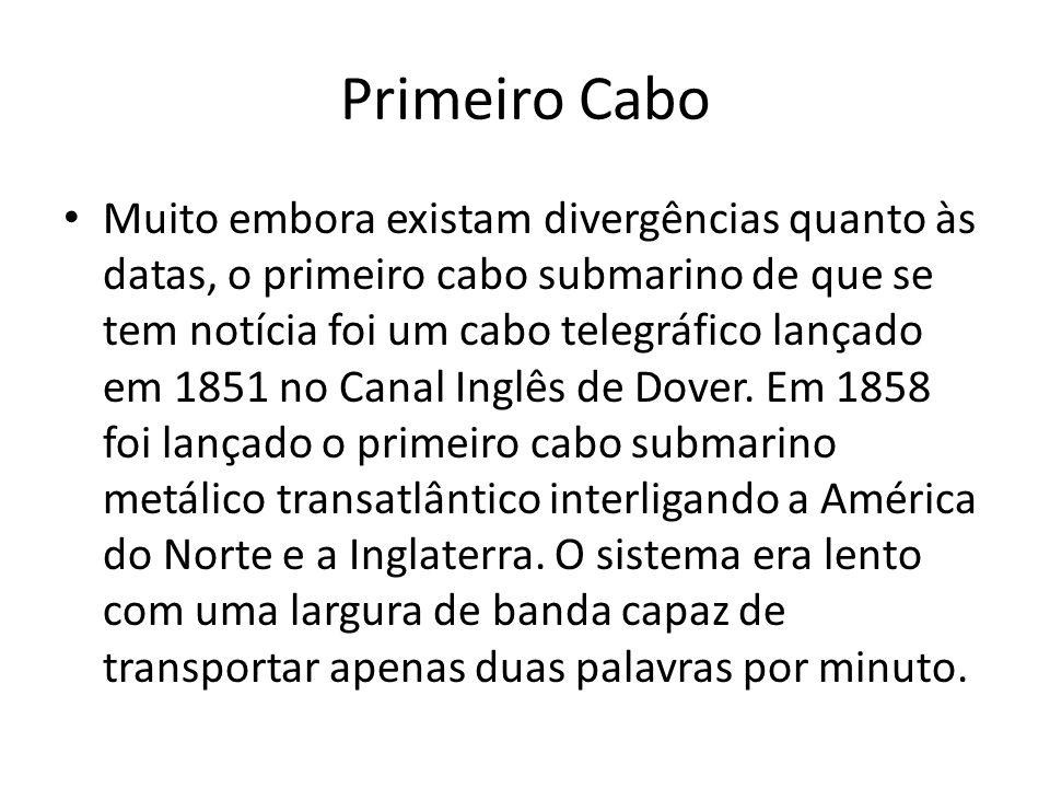 Primeiro Cabo Muito embora existam divergências quanto às datas, o primeiro cabo submarino de que se tem notícia foi um cabo telegráfico lançado em 1851 no Canal Inglês de Dover.