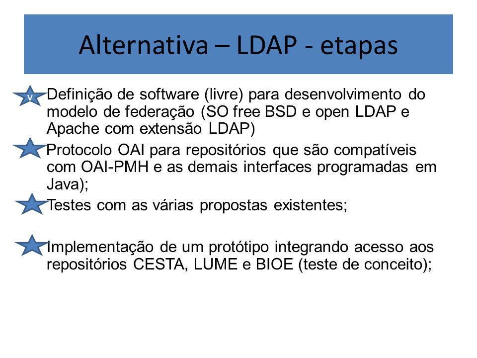 Alternativa – LDAP - etapas Definição de software (livre) para desenvolvimento do modelo de federação (SO free BSD e open LDAP e Apache com extensão LDAP) Protocolo OAI para repositórios que são compatíveis com OAI-PMH e as demais interfaces programadas em Java); Testes com as várias propostas existentes; Implementação de um protótipo integrando acesso aos repositórios CESTA, LUME e BIOE (teste de conceito); v