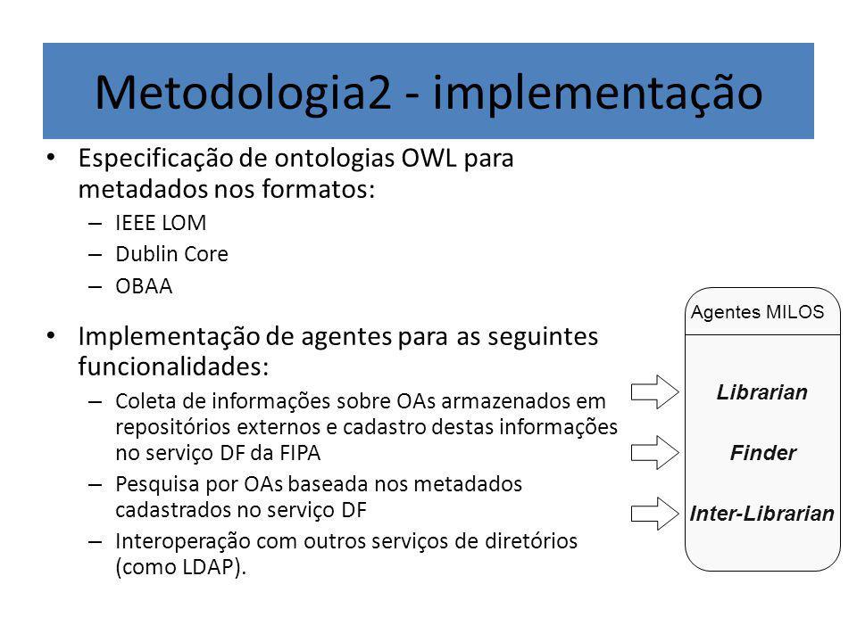 Metodologia2 - implementação Especificação de ontologias OWL para metadados nos formatos: – IEEE LOM – Dublin Core – OBAA Implementação de agentes para as seguintes funcionalidades: – Coleta de informações sobre OAs armazenados em repositórios externos e cadastro destas informações no serviço DF da FIPA – Pesquisa por OAs baseada nos metadados cadastrados no serviço DF – Interoperação com outros serviços de diretórios (como LDAP).