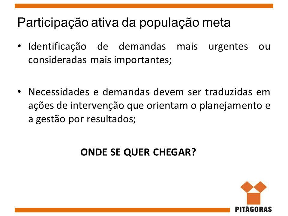 Participação ativa da população meta Identificação de demandas mais urgentes ou consideradas mais importantes; Necessidades e demandas devem ser tradu
