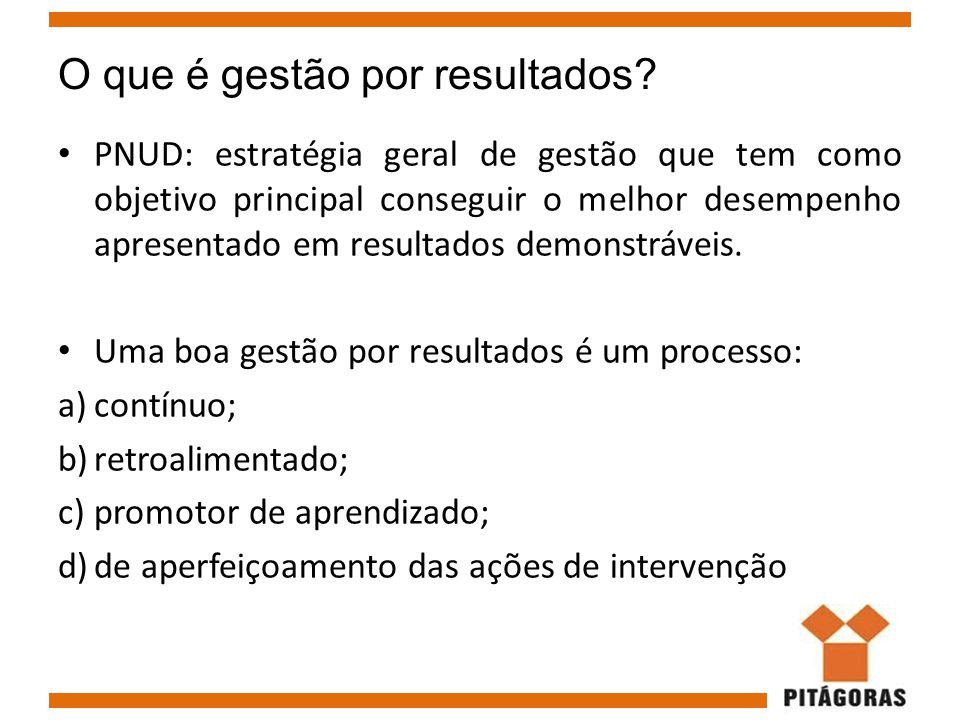 O que é gestão por resultados? PNUD: estratégia geral de gestão que tem como objetivo principal conseguir o melhor desempenho apresentado em resultado