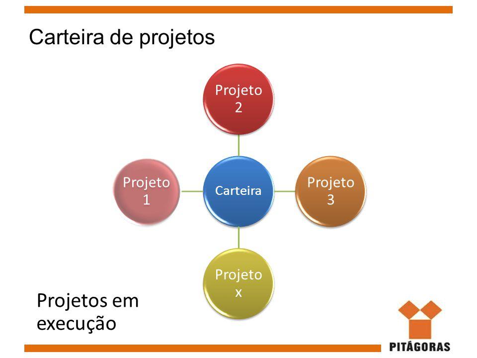 Carteira de projetos Carteira Projeto 2 Projeto 3 Projeto x Projeto 1 Projetos em execução