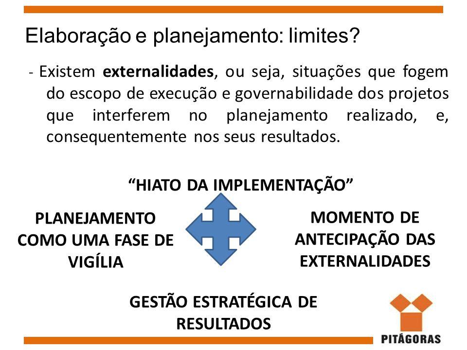 Elaboração e planejamento: limites? - Existem externalidades, ou seja, situações que fogem do escopo de execução e governabilidade dos projetos que in