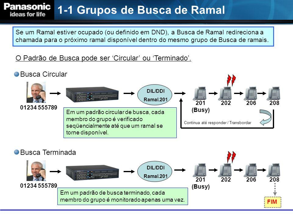 1-1 Grupos de Busca de Ramal 01234 555789 201 (Busy) 202206208 DIL/DDI Ramal.201 Se um Ramal estiver ocupado (ou definido em DND), a Busca de Ramal redireciona a chamada para o próximo ramal disponível dentro do mesmo grupo de Busca de ramais.