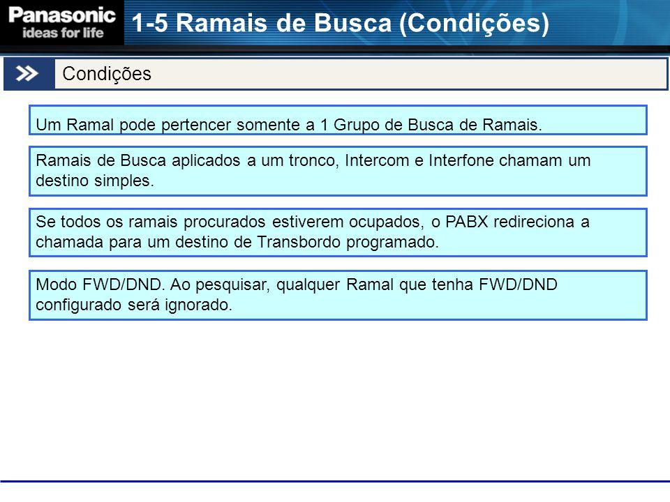 1-5 Ramais de Busca (Condições) Um Ramal pode pertencer somente a 1 Grupo de Busca de Ramais.