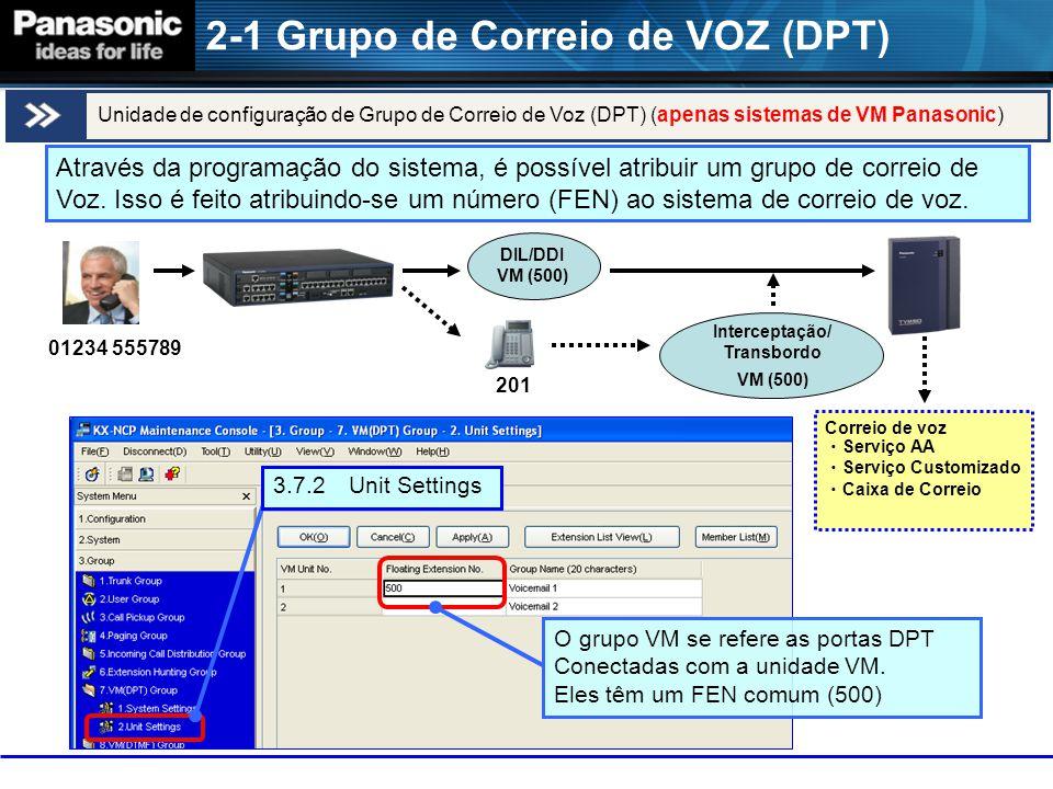 2-1 Grupo de Correio de VOZ (DPT) 01234 555789 201 Interceptação/ Transbordo VM (500) DIL/DDI VM (500) Correio de voz ・ Serviço AA ・ Serviço Customizado ・ Caixa de Correio Unidade de configuração de Grupo de Correio de Voz (DPT) (apenas sistemas de VM Panasonic) 3.7.2 Unit Settings Através da programação do sistema, é possível atribuir um grupo de correio de Voz.