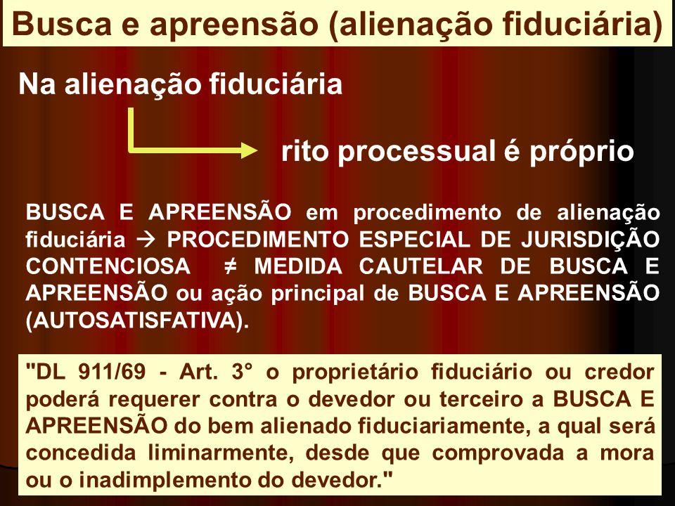 Na alienação fiduciária rito processual é próprio BUSCA E APREENSÃO em procedimento de alienação fiduciária  PROCEDIMENTO ESPECIAL DE JURISDIÇÃO CONT