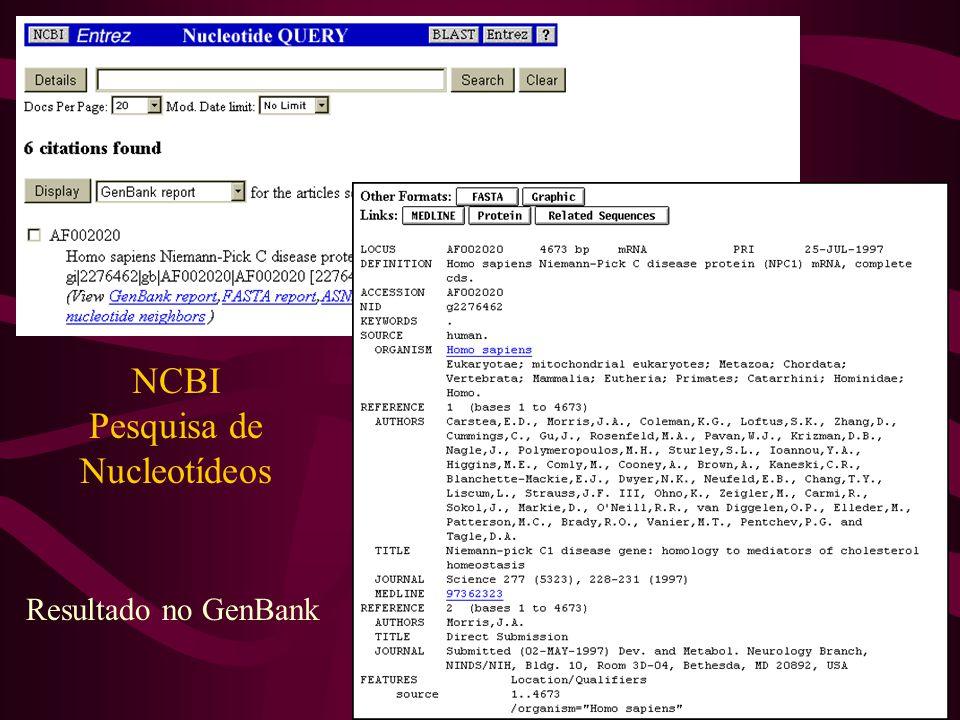 NCBI Pesquisa de Nucleotídeos Resultado no GenBank