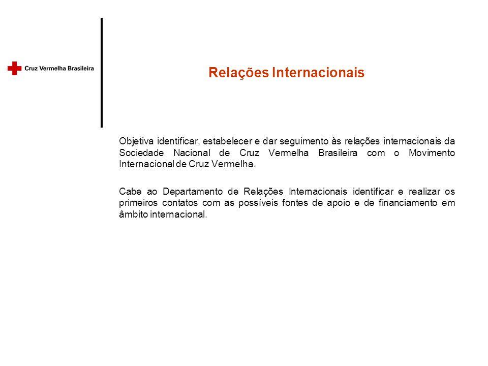 Relações Internacionais Objetiva identificar, estabelecer e dar seguimento às relações internacionais da Sociedade Nacional de Cruz Vermelha Brasileira com o Movimento Internacional de Cruz Vermelha.