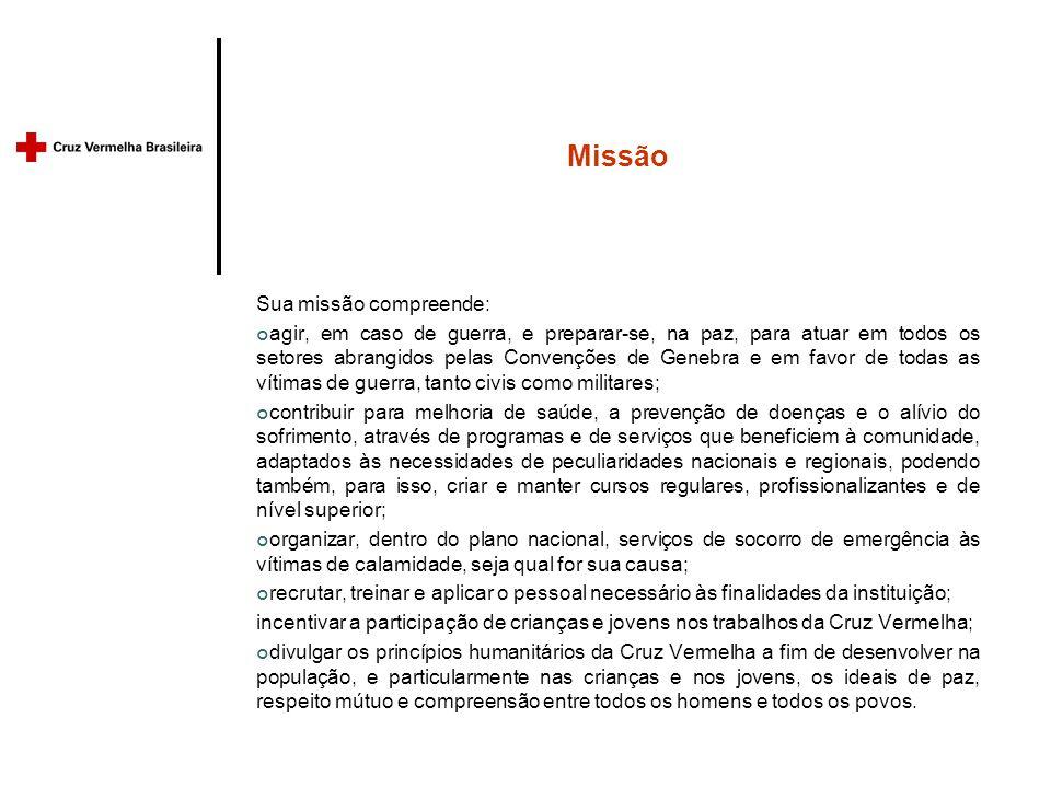 Missão Sua missão compreende: agir, em caso de guerra, e preparar-se, na paz, para atuar em todos os setores abrangidos pelas Convenções de Genebra e