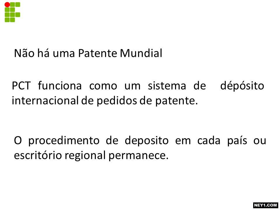 Não há uma Patente Mundial PCT funciona como um sistema de dépósito internacional de pedidos de patente. O procedimento de deposito em cada país ou es
