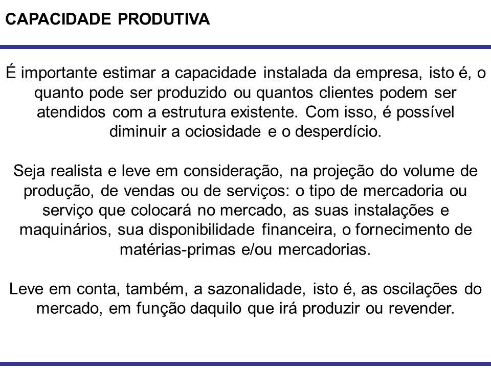 CAPACIDADE PRODUTIVA É importante estimar a capacidade instalada da empresa, isto é, o quanto pode ser produzido ou quantos clientes podem ser atendid