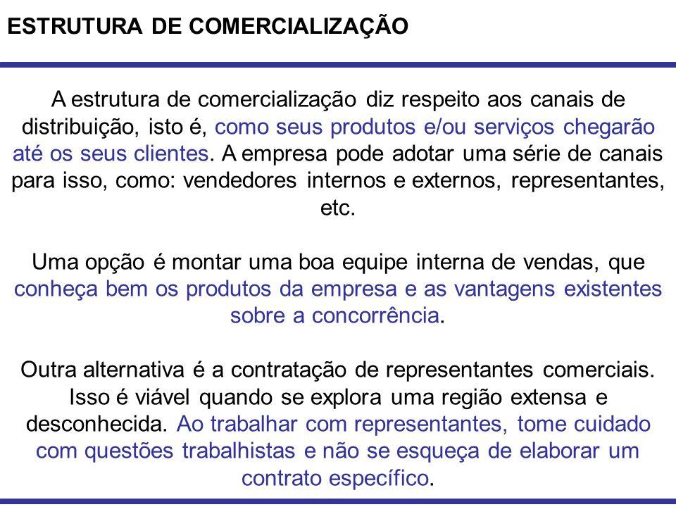 ESTRUTURA DE COMERCIALIZAÇÃO A estrutura de comercialização diz respeito aos canais de distribuição, isto é, como seus produtos e/ou serviços chegarão