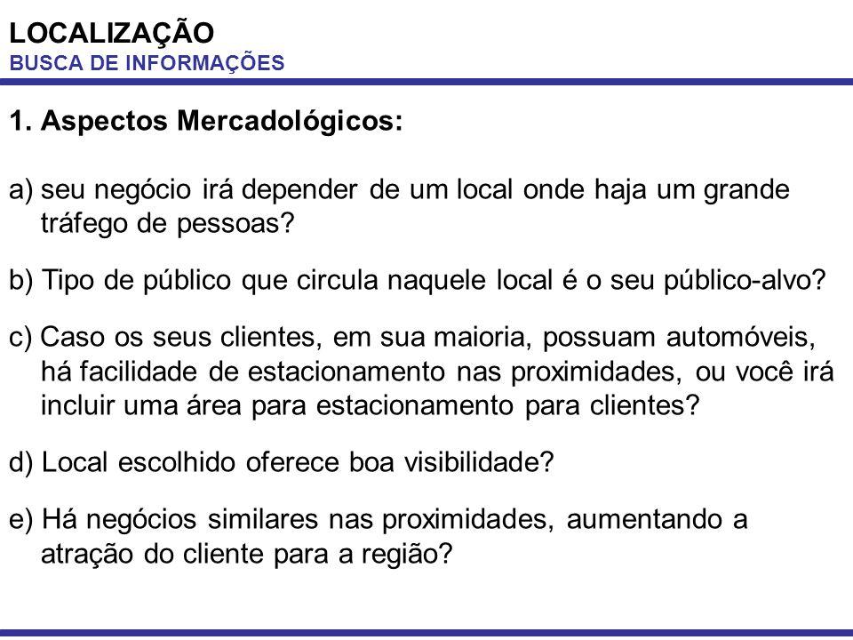 LOCALIZAÇÃO BUSCA DE INFORMAÇÕES 1.Aspectos Mercadológicos: a)seu negócio irá depender de um local onde haja um grande tráfego de pessoas? b) Tipo de
