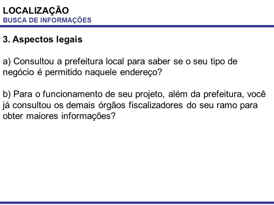 LOCALIZAÇÃO BUSCA DE INFORMAÇÕES 3. Aspectos legais a) Consultou a prefeitura local para saber se o seu tipo de negócio é permitido naquele endereço?