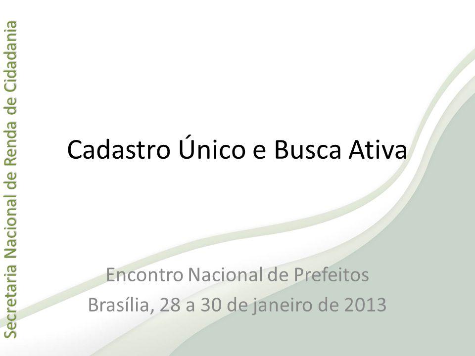 Secretaria Nacional de Renda de Cidadania Secretaria Nacional de Renda de Cidadania Cadastro Único e Busca Ativa Encontro Nacional de Prefeitos Brasíl