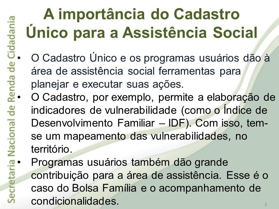 O Cadastro Único e os programas usuários dão à área de assistência social ferramentas para planejar e executar suas ações. O Cadastro, por exemplo, pe