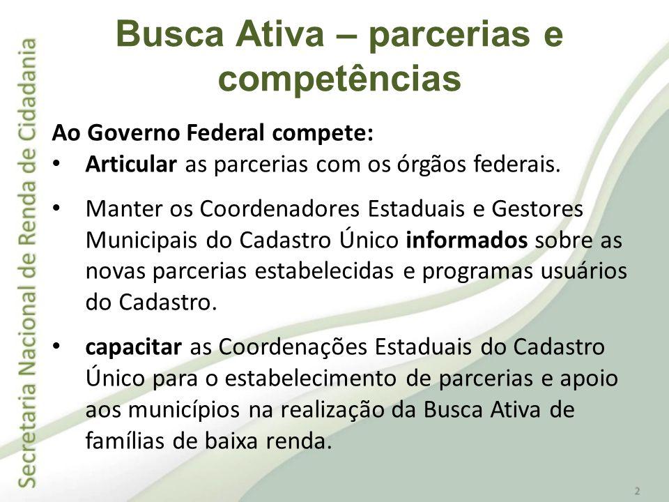 Ao Governo Federal compete: Articular as parcerias com os órgãos federais. Manter os Coordenadores Estaduais e Gestores Municipais do Cadastro Único i